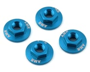 AMR 4mm Aluminum Serrated Flange Nut (Blue) (4) | product-related