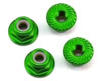 175RC Aluminum 4mm Serrated Locknuts (Green)