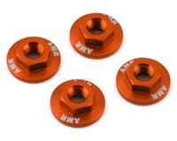 AMR 4mm Aluminum Serrated Flange Nut (Orange) (4) (Team Associated SC10 4x4)