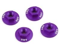 AMR 4mm Aluminum Serrated Flange Nut (Purple) (4) (Team Associated RC10 B6D)
