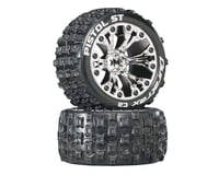 """DuraTrax Pistol ST 2.8"""" Mounted 1/2"""" Offset C2 Tires, Chrome (2)"""
