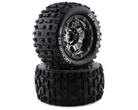 """DuraTrax Lockup MT Belted 2.8"""" Pre-Mounted Truck Tires (Black Chrome) (2) (Traxxas Maxx)"""