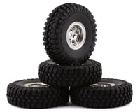 """HobbyPlus CR-18 T-Finder A/T 1.0"""" Pre-Mounted Tire Set (Chrome) (4) (Beadlock)"""
