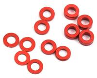 ProTek RC Aluminum Ball Stud Washer Set (Red) (12) (0.5mm, 1.0mm & 2.0mm) (Kyosho Ultima RB5)