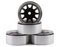 """RC4WD OEM 6-Lug Stamped Steel 1.55"""" Beadlock Wheels (Black/Chrome) (4)"""