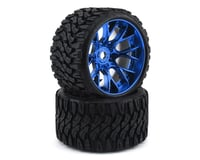 Sweep Terrain Crusher Belted Pre-Mounted Monster Truck Tires (Blue) (2) (Axial Yeti XL)