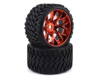 Sweep Terrain Crusher Belted Pre-Mounted Monster Truck Tires (Red) (2) (Axial Yeti XL)