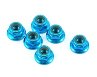 Team Losi TEN-SCTE 2.0 Racing 4mm Aluminum Serrated Locknut Set (6) (Blue)