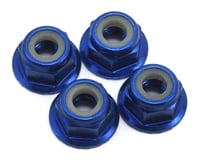 Traxxas 1/16 Mustang 4mm Aluminum Flanged Serrated Nuts (Blue) (4)