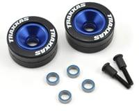 Traxxas Stampede Aluminum Wheelie Bar Wheel Set w/Rubber Tires (Blue) (2)
