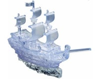 University Games Corp Bepuzzled 30966 3D Crystal Puzzle - Pirate Ship Clear: 98 Pcs