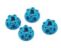 Yeah Racing 4mm Aluminum Serrated Wheel Lock Nut (4) (Blue) (MST CMX)
