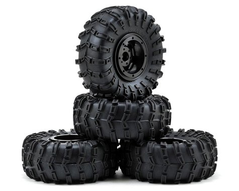 "Gmade G-Air 2.2"" Beadlock Rock Crawler Wheels w/Tires & Accessories (4) (Black)"